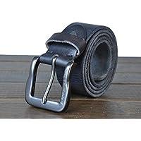 """HOMBRES cinturones estilo Retro cuero cuero de grano completo 100% correa de cuero para hombres aleación hebilla con una perforadora de Correa Metal bono 1,4"""" ancho todos tamaños Ideal de Navidad para hombres , black"""