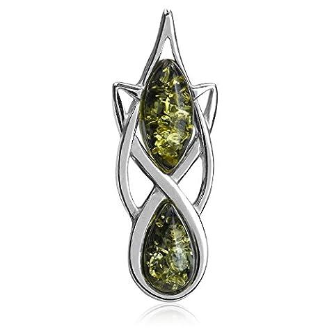 Green Amber Sterling Silver Celtic Pendant Slider