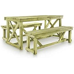 vidaXL Ensemble de Mobilier d'Extérieur 3 pcs FSC Meuble de Jardin Table Bancs