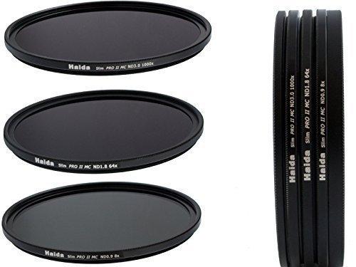 HAIDA Slim PRO II Digital MC Neutral Graufilter Set bestehend aus ND8, ND64, ND1000 Filtern 72mm...