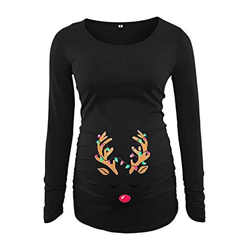 Frauen Weihnachten Mutterschaft Tops LSAltd Damen Weihnachten Elch Print Bluse Seite Geraffte Langarm Mutterschaft Top Mama Schwangerschaft Kleidung Weihnachten Schwangere Pullover Für S-2XL