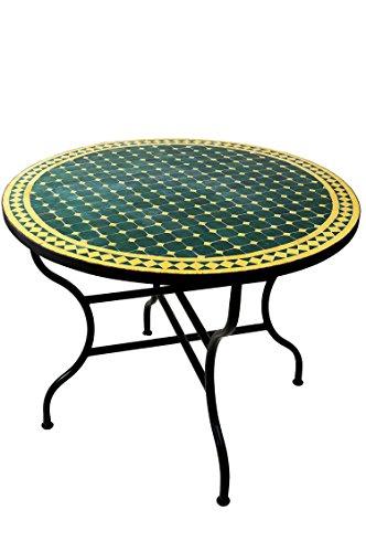 ORIGINAL Marokkanischer Mosaiktisch Gartentisch ø 100cm Groß rund klappbar | Runder klappbarer Mosaik Esstisch Mediterran | als Klapptisch für Balkon oder Garten | Marrakesch Grün Gelb 100cm