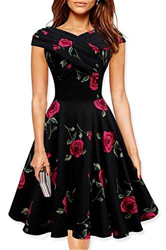 Chez BoBos Femme Robe Vintage 1950s Floral Plissée Epaules Dénudées Rouge