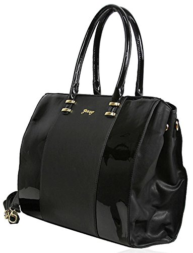 Kukubird Hi-Gloss dettaglio ecopelle design Large Tote Handbag Shoulder Bag Black