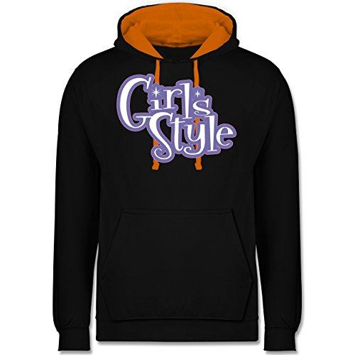 Typisch Frauen - Girls Style - Kontrast Hoodie Schwarz/Orange