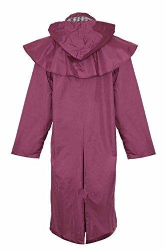 Damen Lang Full Länge Wasserdicht Riding Regen Jacke Country Mantel mit Cape WOW Violett - Violett