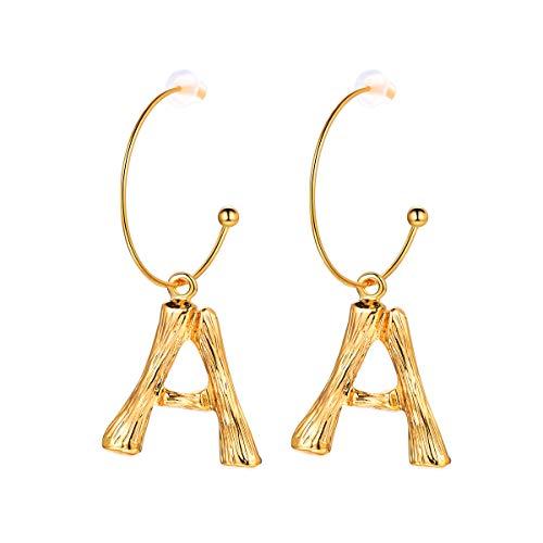FOCALOOK Damen Ohrringe Gelbgold überzogen Buchstabe A Ohrhänger Coole Bambus Stil baumeln Ohrringe Groß Initiale Ohrschmuck für Frauen Mädchen, gold