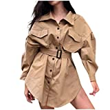 Hupoop Capispalla soprabito giacca da trench lungo doppio petto giacca a vento slim donna (M)