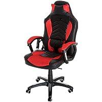 Homcom Luxe Fauteuil/Chaise de Bureau Gamer Fonction Massage + Chauffage intégrée Dossier inclinable Rouge
