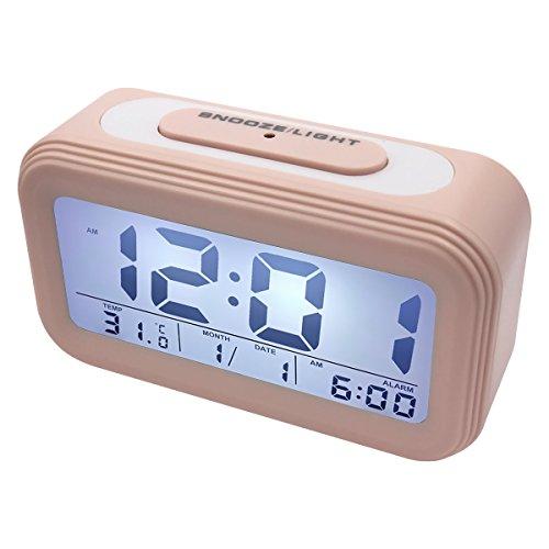 EASEHOME Sveglia Digitale, Sveglie da Comodino Elettronica Grande LCD Display Data Temperatura Orologio Batteria Funzione Snooze Luce Notturna Allarme Forte Silenziosa per Bambini, Pink