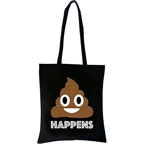 PREMYO Einkaufstasche Lange Henkel Baumwolltasche Schwarz Jutebeutel Bedruckt mit Spruch Motiv Emoji Poop Stofftasche Trage-Tasche Baumwollbeutel Stoffbeutel Einkaufsbeutel Umhänge-Beutel Shopper