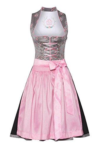 cce1aa9848def Edelheiss Damen Mini Dirndl 60er grau-rosa 132507, Größe 34