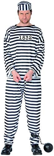 Confettery - Herren Männer Sträfling Häftling Gangster Kostüm mit Hemd Hose und Mütze, perfekt für Karneval, Fasching und Fastnacht, L, Weiß
