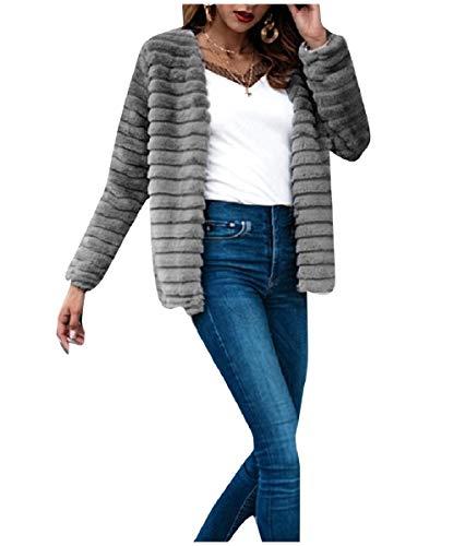 CuteRose Womens Luxurious Warm Shaggy Open-Front Parka Outerwear Grey XS -