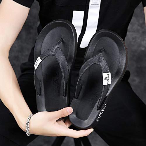 Shukun Infradito Slippers Men's Outdoor Slip Beach Shoes Men's Sandals Men's Flippers Flip Flops Men's Slippers Summer, 41, Cool Black