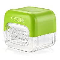 Garlic press, garlic peeler and garlic slicer with stainless steel blades in green and white, 1003