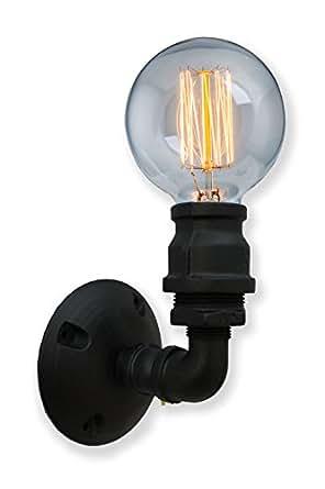 purelume retro industrial raven wandleuchte wandlampe mit kohlefaden masterglobe 40w gl hbirne. Black Bedroom Furniture Sets. Home Design Ideas