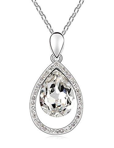FANSING Bijoux Cadeau Goutte d'eau Baisse Forme Autrichien Cristal 3.9*2.0cm Pendentifs Colliers Pour Femme