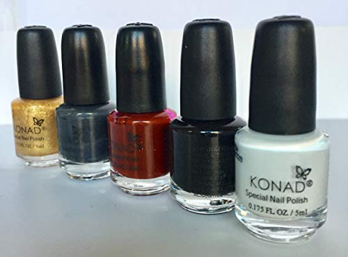 KONAD-Kit de 5 esmaltes para estampar 5ml:Wine red