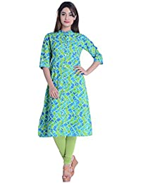 Palakh Women's Cotton Frontslit Printed Kurti (Green&Blue)