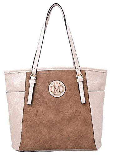Su Malia Contrasto Pannello Design Tote Bag Con Sacchetto Raccoglipolvere Su Light Grey