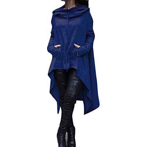 Donna Con Cappuccio Lungo Felpe Alto Basso Asimmetrico Maniche Lunga Vestito Camicetta Pullover Sweatshirt Hoodies Tops Autunno Invernali Nero Oliva Grigio Blu Vino Rosso Grigio Scuro M - 4XL Highdas Blu