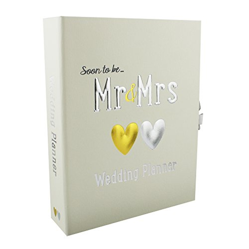 Soon to Be .. Mr & Mrs Wedding Planner. White with gold & silver hearts by Wendy Jones Blackett