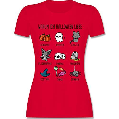 Halloween - Warum ich Halloween Liebe - L - Rot - L191 - Damen Tshirt und Frauen T-Shirt