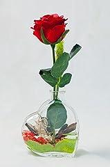 Idea Regalo - Rosa rossa in un vaso a forma di cuore - centrotavola, arredamento floreale con fiori artificiali