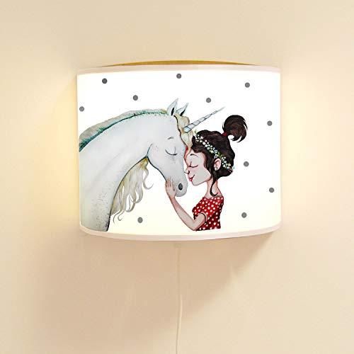 ilka parey wandtattoo-welt Wandlampe Kinderlampe mit süßen Einhorn & Mädchen Lampe Motivlampe Leselampe Kinderzimmer ls113 - ausgewählte Farbe: *naturholzfarben*