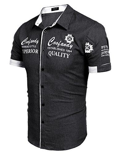 COOFANDY Herren Kurzarmhemd aus Baumwolle mit unterschiedlichen Stickereien Slim-fit Form lässiges Hemd Schwarz