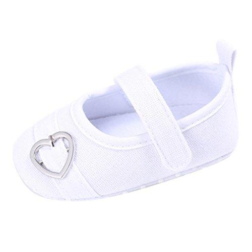 Koly_Scarpe Neonato Bambino Bambini delle Ragazze dei Ragazzi di Disegno del Cuore del Bambino Morbida Sole Sneakers (Size 13, White)