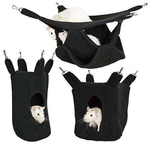 Rodents Residence Kuschelhängematten Set Kleintier Hängematte Höhle Haus Ratte Chinchilla Frettchen Hamster Degu (schwarz)
