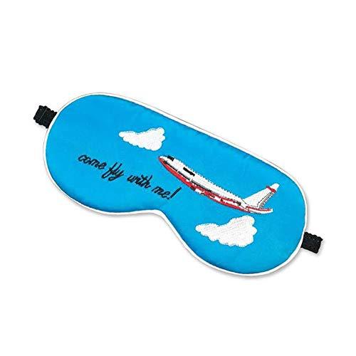 Melodycp Augenmaske, Schlafmaske, Seide, Schlafmaske und Augenmaske, bequem und verstellbar, Blau Flugzeig