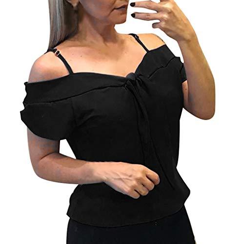 Oksea Oberteile Damen Kurzarm T Shirts Schulterfrei Tops Lose Asymmetrisch Tops Tunika Damen Sommer Kurzarm Casual Solides Rundhals Schulterfrei ()