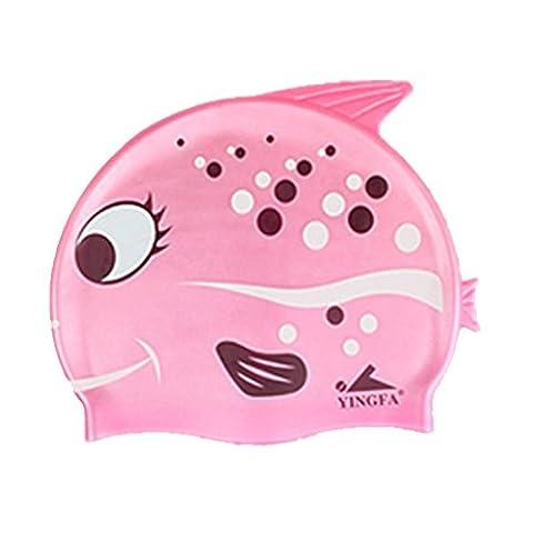 Neeiors mignon Dessin animé enfants Silicone étanche Bonnet de bain d'été piscine Spa Bonnet de bain enfants Soin d'oreille Coque Bain Chapeau, Pink Fish