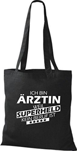 Shirtstown Stoffbeutel Ich bin Ärztin, weil Superheld kein Beruf ist schwarz