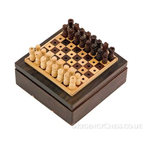 Ensemble mini jeu d'échecs de voyage bois de rose pièces arrimées 7.5cm