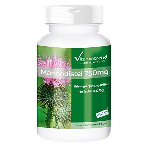 Mariendistel Extrakt 750mg - Großpackung mit 180 Tabletten - ! FÜR 6 MONATE ! - vegan - hochdosiert - 80% Silymarin
