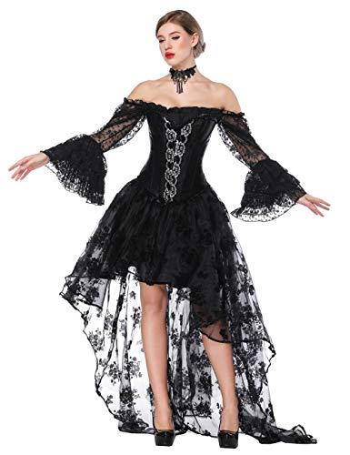 FeelinGirl Damen Korsagekleid Steampunk Gothic Kostüm Magic