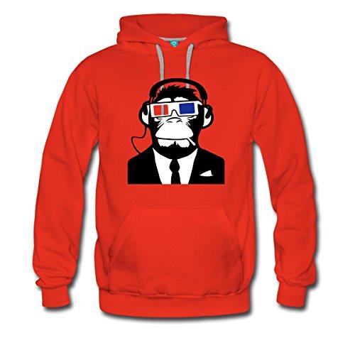 Spreadshirt Urban Electro 3D Affe Männer Premium Hoodie, M, Rot Schimpansen-anzug