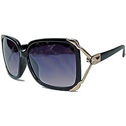 Damen Sonnenbrille Retro Square Frame Bügel gold verziert Glitzerstein Designer Look JK19 (Schwarz)
