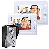 ZY Sistema videocitofonico Citofono Campanello da 7 Pollici Kit citofono citofono 1 Telecamera 2 Monitor Visione Notturna