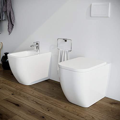 Sanitari bagno Bidet e Vaso WC filomuro a terra in ceramica con coprivaso sedile softclose. Legend