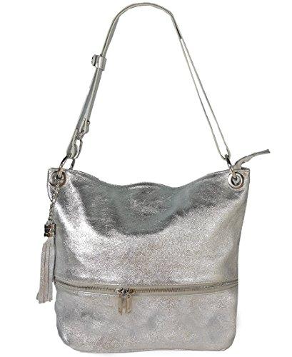 Freyday Echtleder Schultertasche in vielen Farben und verstellbarem Gurt Umhängetasche (Silber Metallic)