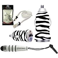 Emartbuy Trio Pacchetto Per Posh Mobile Icon Pro HD X551 - Zebra Nero / Bianco 1 Amp USB Auto Caricabatteria + Bianco Mini Stilo + Bianco Piattina Micro USB Dati & Ricarica Cavo