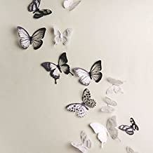 Rainbow Fox Generic 18pcs DIY 3d art Butterfly – Adhesivo decorativo para pared decoración del hogar decoración de la habitación adhesivo decorativo pegatinas de pared, pvc mariposas