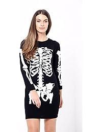 fd090b4bedd8 ZEE FASHION Nuovo da Donna Halloween Scheletro Ossa Haloween Bodycon  Costume Travestimento
