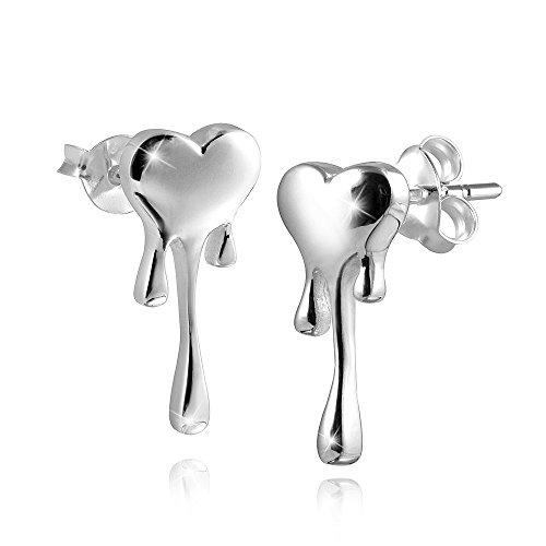 MATERIA Orecchini da donna a forma di cuore gocciolante in argento 925 - Piccoli orecchini che parlano d'amore, inclusa confezione Box #SO-263