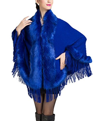 Femmes Châle en cachemire à franges imitation Coat- Poncho cape cardigan Bleu - Bleu marine
